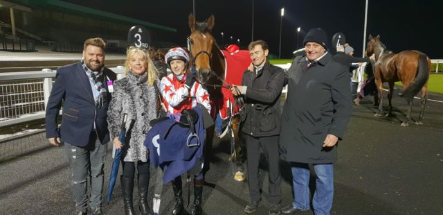 5396ddce678 He stayed on well under pressure and held on to win by a neck. Owners Steve  and Glen Clayton were there to welcome him back into the winners enclosure.